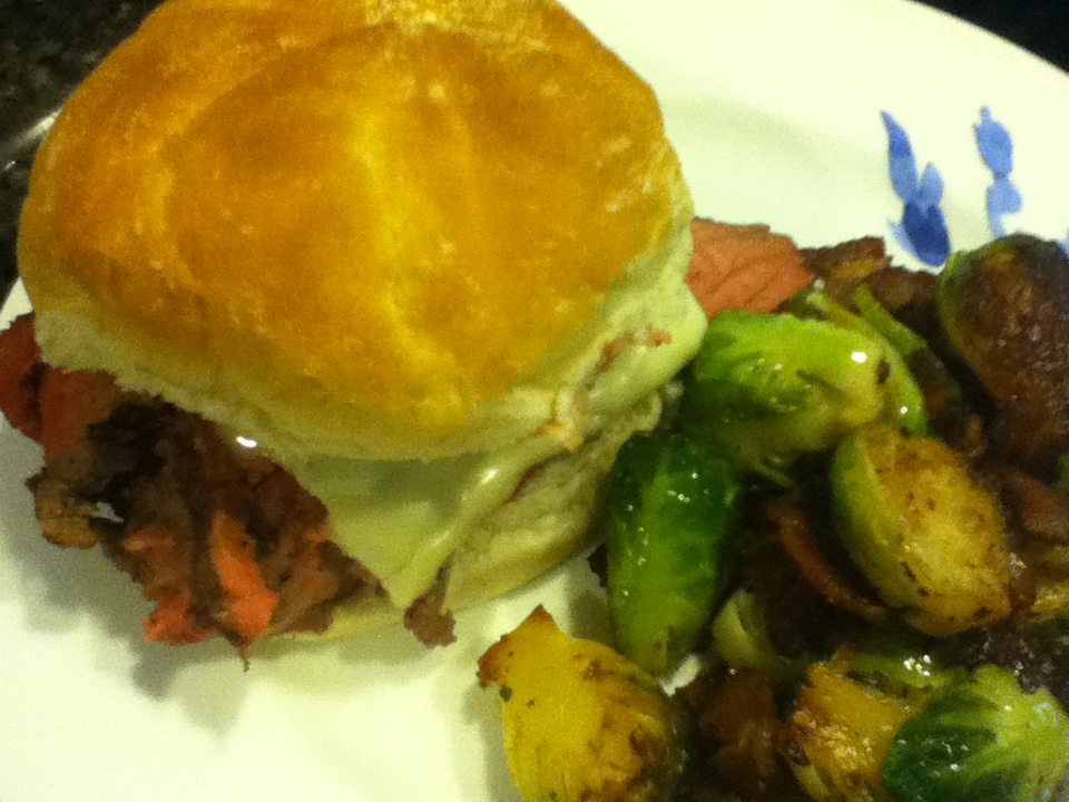 tri-tip sandwich served with brussels sprouts & bacon